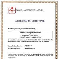 Орган по сертификации систем менеджмента качества СП «O'ZBEK-TURK TEST MARKAZI» получил международное признание