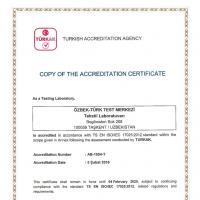 Лаборатория по испытанию текстильной продукции  СП ООО «O'ZBEK-TURK TEST MARKAZI» получила международное признание