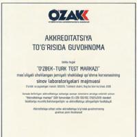 """МЧЖ """"O'zbek-Turk Test Markazi"""" ҚК """"Синов лабораториялари мажмуаси"""" Oʻz DSt ISO/IEC 17025:2019 стандарт талаблари бўйича аккредитациядан мувафиқиятли ўтди"""